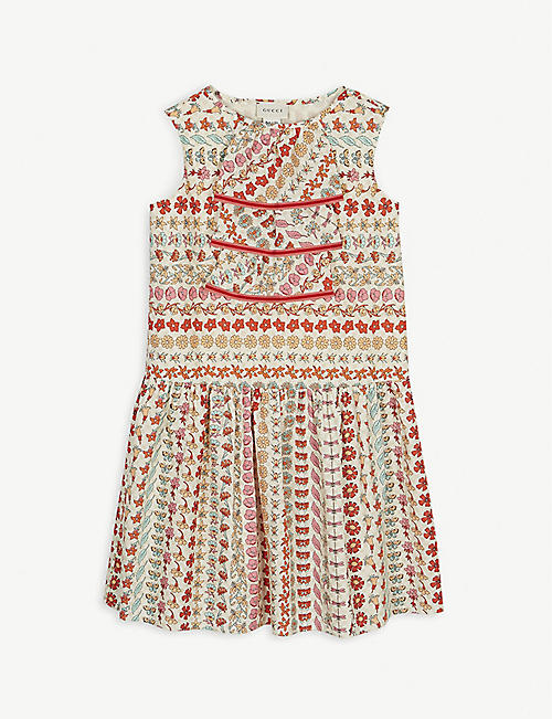 GUCCI Floral-printed cotton sleeveless dress 4-12 years