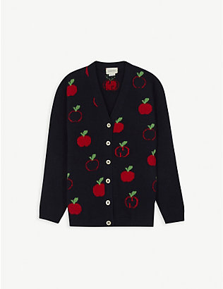 GUCCI: Apple logo-print wool cardigan 6-12 years