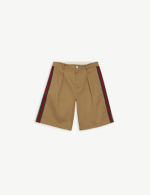 GUCCI: Web stripe chino cotton-blend shorts 4-12 years