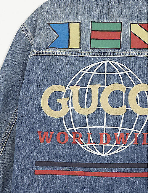 GUCCI Logo embroidered denim jacket 8-12 years