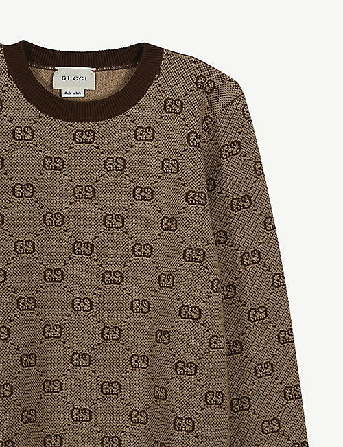 GUCCI Logo-intarsia wool-blend knitted jumper 4-12 years