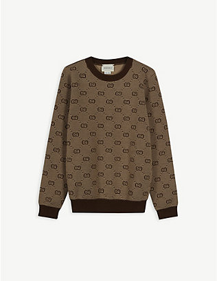 GUCCI: Logo-intarsia wool-blend knitted jumper 4-12 years
