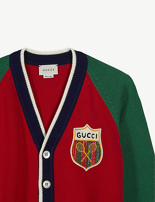 GUCCI Tennis badge cotton cardigan 6-12 years
