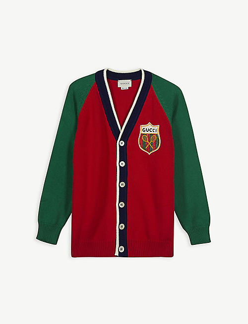 GUCCI: Tennis badge cotton cardigan 6-12 years