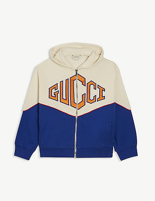 GUCCI: Colour-block logo cotton hoody 6-12 years