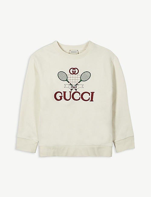 GUCCI: Tennis-motif cotton sweatshirt 4-10 years