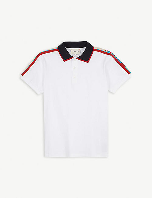GUCCI: Striped cotton-piqué polo shirt 4-12 years