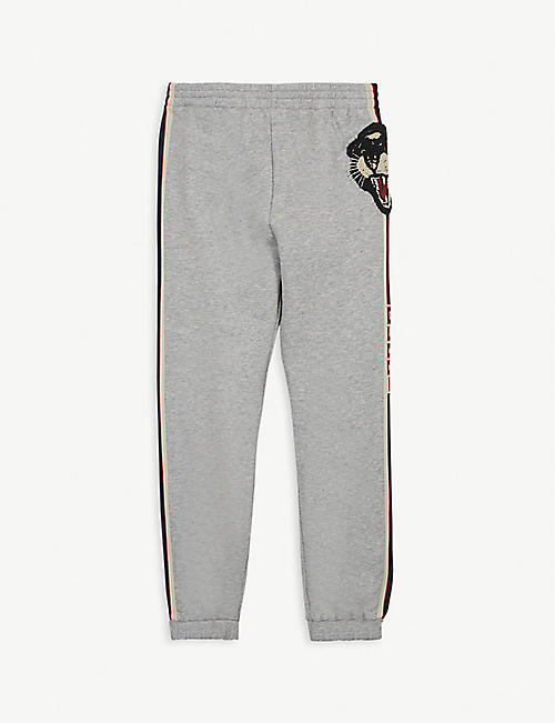 GUCCI: Logo stripe tiger cotton jogging bottoms 4-12 years