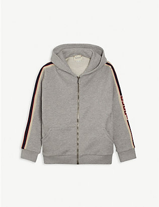 GUCCI: Stripe logo zip-through cotton hoody 4-12 years