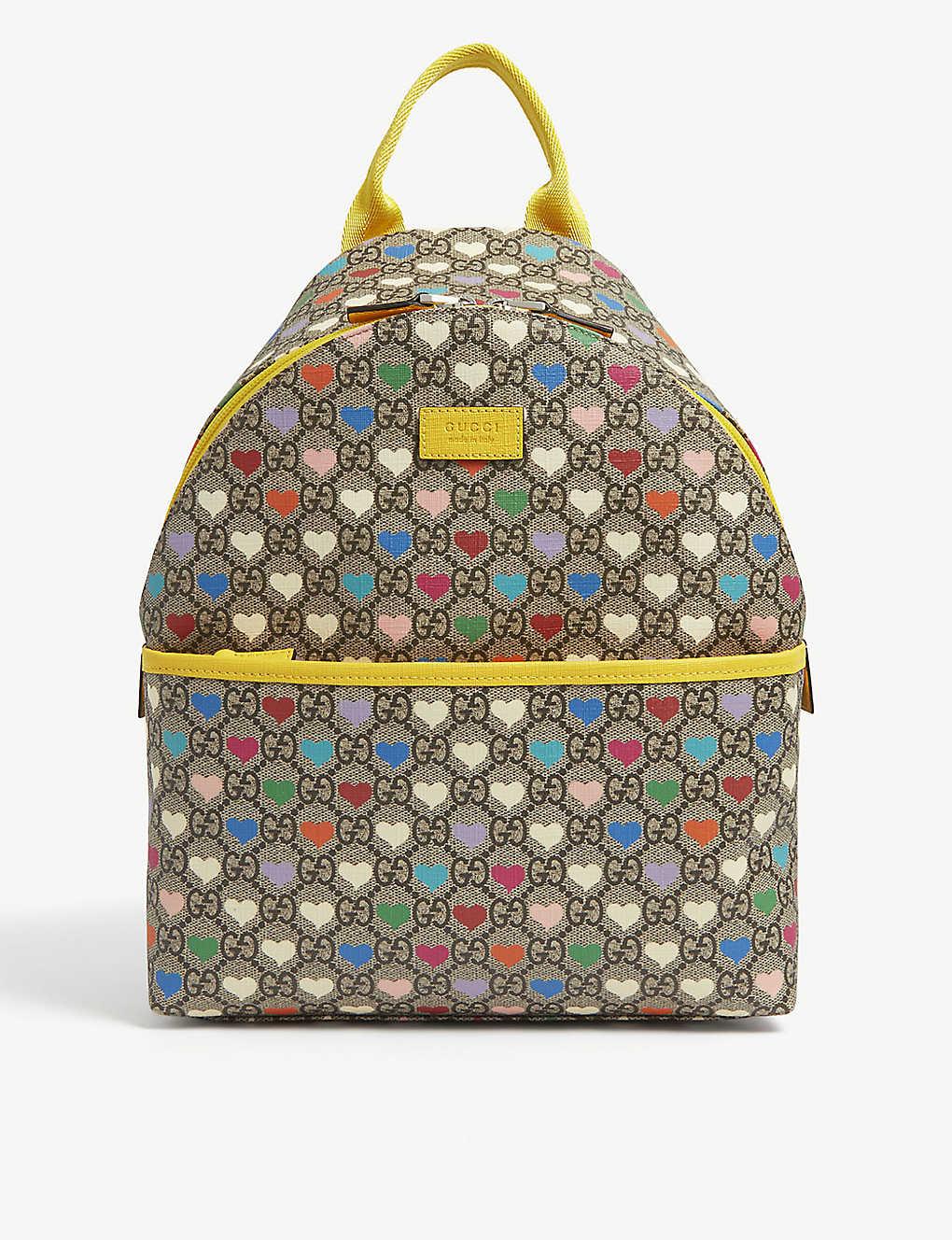 GUCCI - Kids hearts logo-print canvas backpack | Selfridges.com