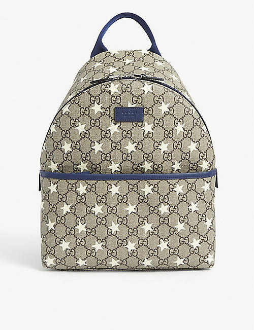 GUCCI: Kids GG star-print canvas backpack