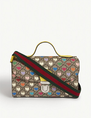GUCCI Kids monogram heart-print shoulder bag