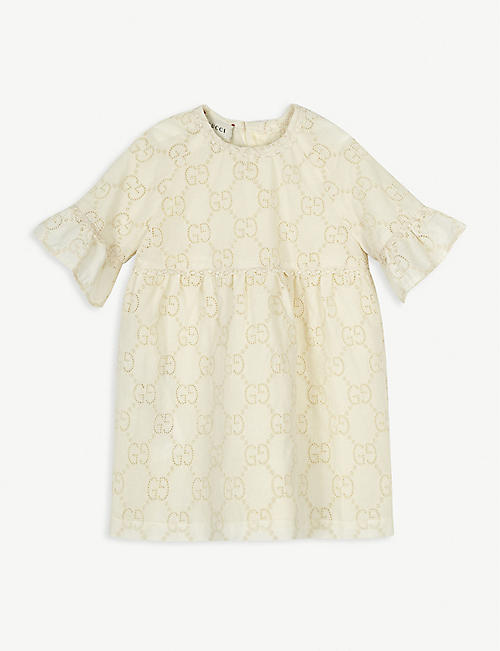 GUCCI: Embroidered logo cotton dress 3-36 months