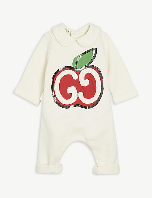 GUCCI GG apple-print sequinned cotton babygrow 3-24 months