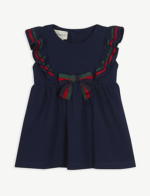 GUCCI Sylvie bow cotton sleeveless dress 6-36 months