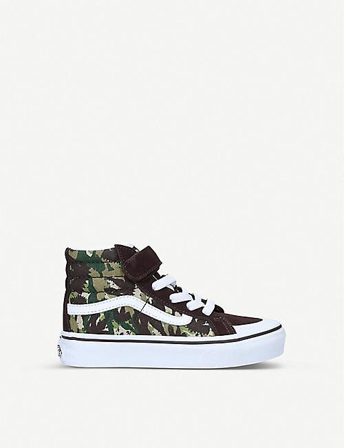 VANS: Sk8-Hi animal camouflage-print canvas and suede trainers 4-8 years