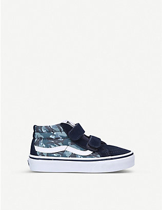 VANS: Sk8-Mid animal camouflage canvas and suede trainers 1-5 years