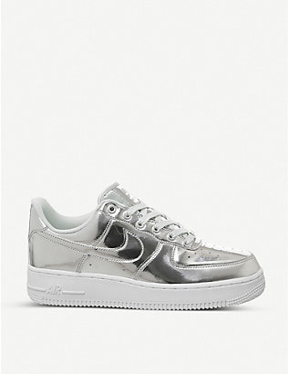 NIKE: Air Force 1 '07 metallic leather trainers