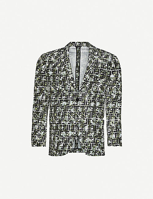 FENDI: Brand-pattern single-breasted woven blazer