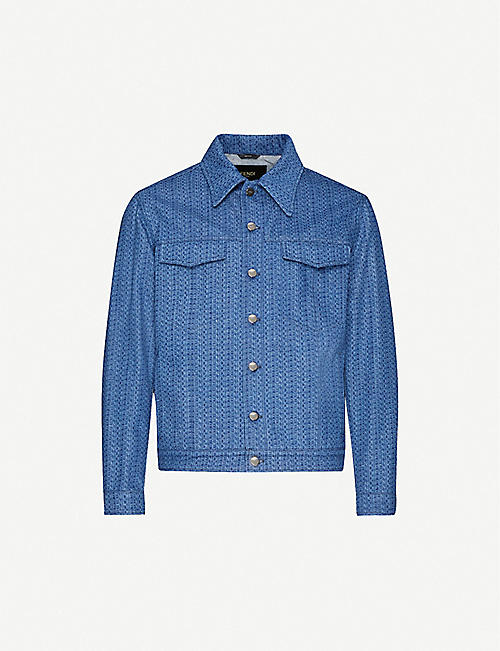 FENDI: Brand-pattern regular-fit denim jacket
