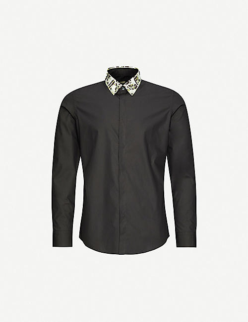 FENDI: Branded-collar slim-fit cotton shirt