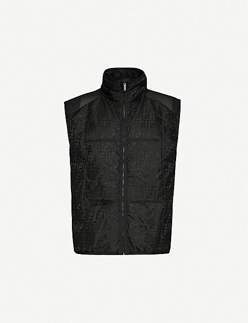 FENDI: Mesh-panel shell-down gilet