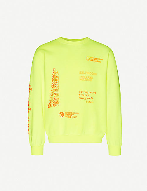 GELAREH MIZRAHI Text-print cotton-blend jersey sweatshirt