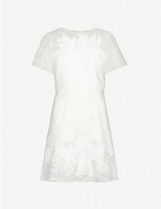 REISS: Darmara floral lace-embroidered woven mini dress
