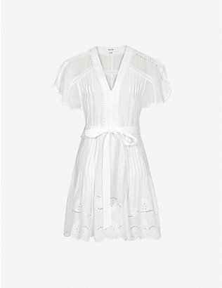 REISS: Gemina embroidered rami mini dress