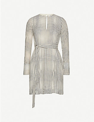 REISS: Elissa spot-print chiffon mini dress