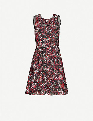 REISS: Louise sleeveless floral-print woven mini dress