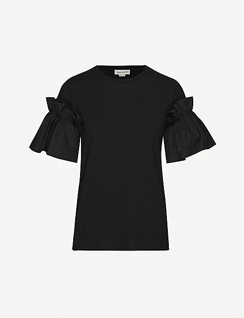 ALEXANDER MCQUEEN Ruffled cotton-jersey T-shirt