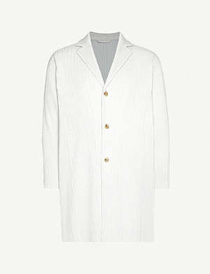 HOMME PLISSE ISSEY MIYAKE Pleated relaxed-fit single-breasted woven coat
