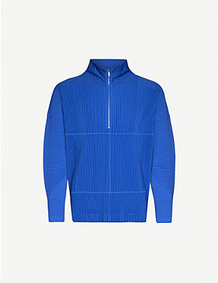 HOMME PLISSE ISSEY MIYAKE: Pleated zipped high-neck woven top