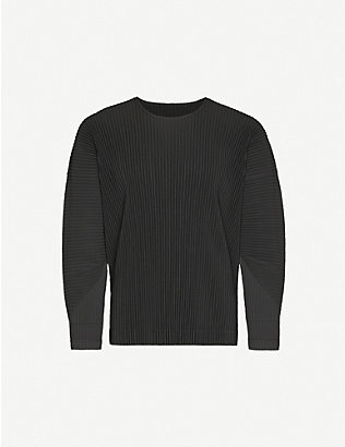HOMME PLISSE ISSEY MIYAKE: Pleated relaxed-fit crewneck woven top