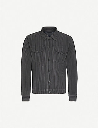 HOMME PLISSE ISSEY MIYAKE: Pleated woven trucker jacket