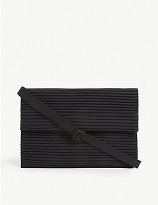 HOMME PLISSE ISSEY MIYAKE: Pleated cross-body pouch bag