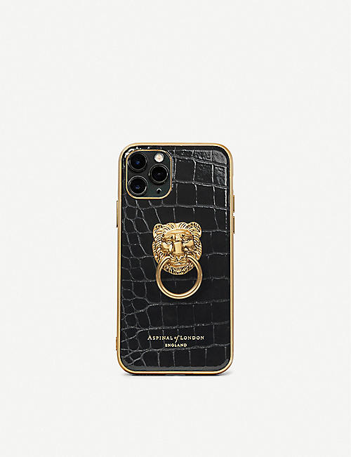ASPINAL OF LONDON: Lion iPhone 11 Pro leather phone case