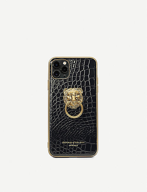 ASPINAL OF LONDON: Croc-embossed leather iPhone 11 Pro Max case
