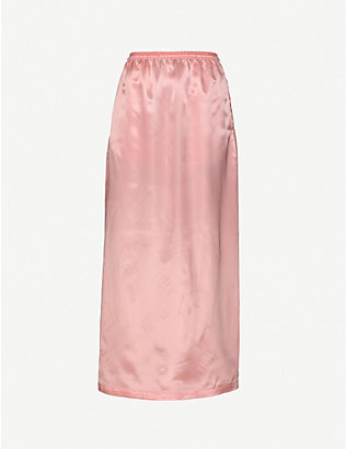 MM6 MAISON MARGIELA: High-waist satin maxi skirt