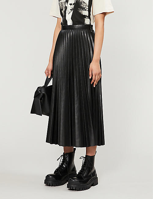 TOPSHOP Pleated high-waist faux-leather midi skirt