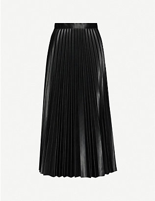 TOPSHOP: Pleated high-waist faux-leather midi skirt