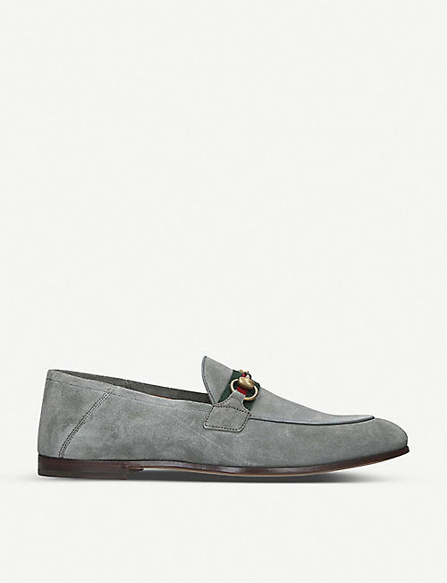 GUCCI: Brixton web-embellished suede loafers