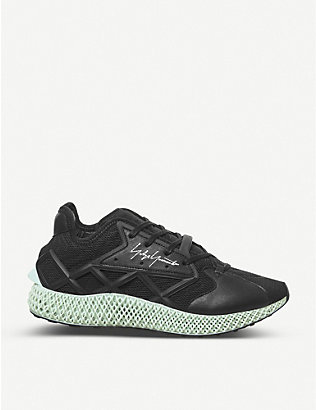 ADIDAS Y3: Runner 4-D caged mesh and leather low-top trainers