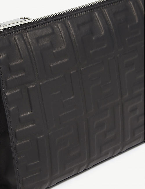 FENDI Embossed logo leather pouch