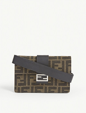 FENDI FF mini canvas baguette bag
