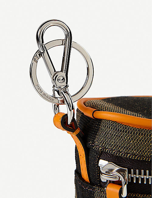 FENDI Striped leather can pouch
