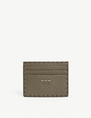 FENDI: Grained leather card holder