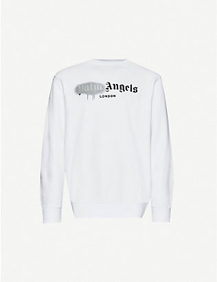 PALM ANGELS: Logo-print cotton-jersey sweatshirt