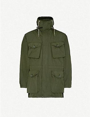ASPESI: Drawstring-hem hooded reversible shell parka jacket